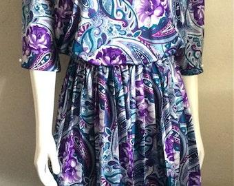 Vintage Women's 80's Dress, Pleated, Floral, Paisley, Flare by MCS Ltd (L)