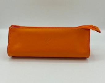 Drop Orange leather clutch