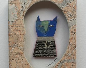 "Miniature painting ""Blue Cat diorama"""