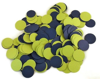 Funfetti Paper Party  Confetti  Dots in  Navy and Lime Mix