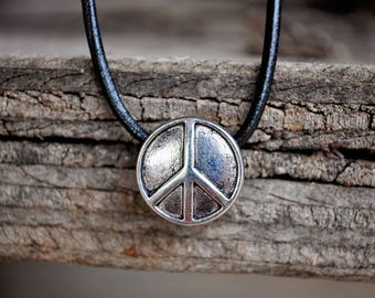 Necklace - Antiqued Silver Peace Sign Pendant Necklace (Bohemian, Hippie, Gypsy)