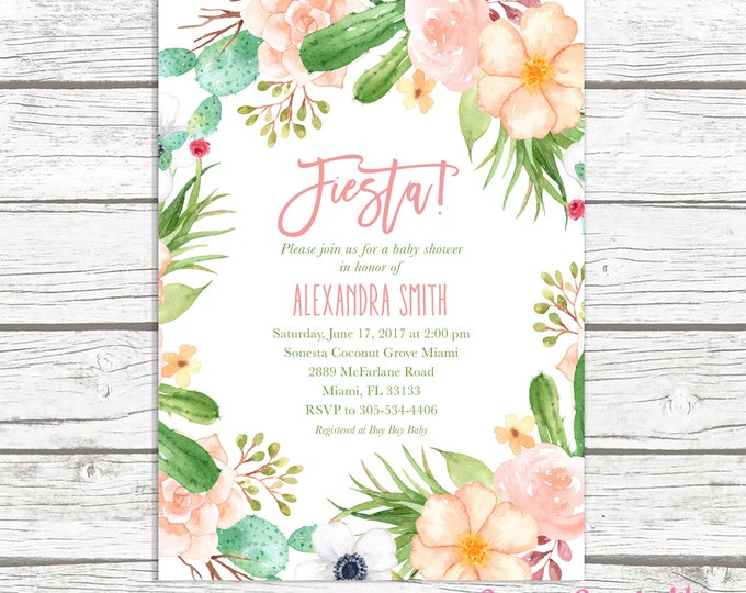 Fiesta Baby Shower Invitation, Cactus Baby Shower Invitation, Succulent Baby Shower Invite, Pink Floral Wreath Baby Shower