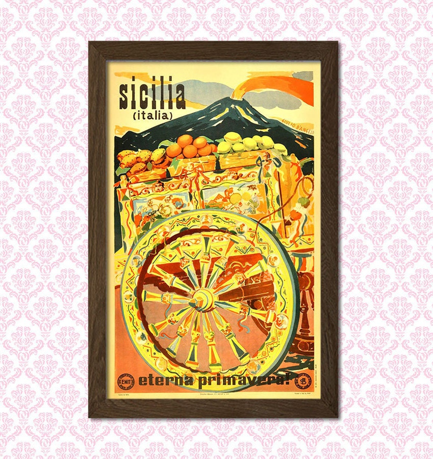 Sicily Travel Print Vintage Travel Poster Sicily Poster