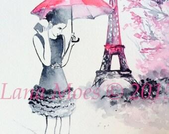 Pink Parisian Fashion Watercolor Illustration -  Print from Original Watercolor Painting - Lana's Art - Wanderlust Illustration
