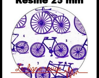 Round cabochon resin 25 mm - (51) old bicycle - bike, cycle craft