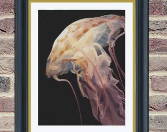 Jellyfish in Osaka Aquarium - Counted Cross Stitch Pattern - PDF Instant Digital Download