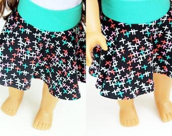 SAMPLE SALE - Fits like American Girl Doll Clothes - Skater Skirt in Black Sparks