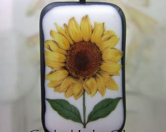 Summer Sunflower Pendant, Fused Glass Jewelry Handmade in North Carolina