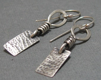 Rustic hand forged oxidized sterling silver boho dangle earrings, brushed silver patterned drop earrings