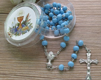 First Holy Communion Scented Rosary Favor - 12 Rosaries with individual Gift box and Organza Bag. (6mm, White) JN291FI-Blu