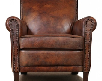 High End, Genuine Leather Accent Chair - Club Chair - Cigar Chair