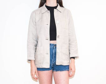 90s sand beige chambray chore jacket / lightweight woven linen button-up / size M
