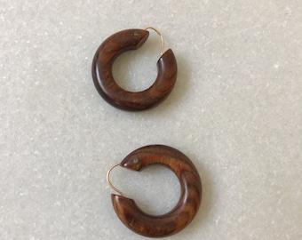 Faux Bois earrings / wood earrings / wooden hoop earrings