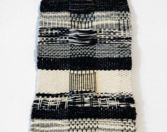 Handmade Tapestry Weaving Wall Hanging/Decor - Neutral, black, ivory, grey