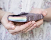 Rainbow Leather Wrap Journal - A7 Handbound Leather Blank Book - 4 x 3 - Custom - Pastel Multi Colour Pages