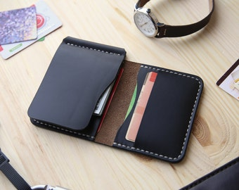 Money Clip Wallet, Mens Leather Money Clip Wallet, Mens Leather Bifold Wallet, Horween Black Chromexcel