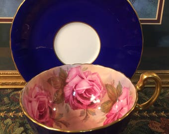SOLD! Aynsley Cabbage Rose tea cup and saucer.