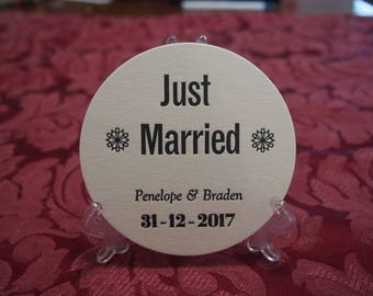 JUST MARRIED  Round COASTERS  X 100