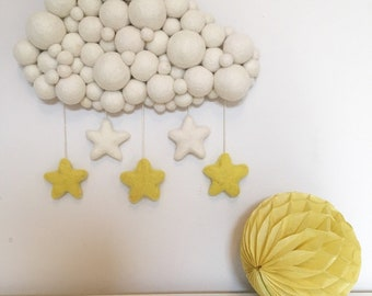 Felt ball cloud wall hanging with star detail - wall decor, wall decoration, nursery decoration