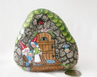 Painted rock, painted stone, gnome cottage, gnome family, garden gnome, garden decor, gnome house, dragonfly, toadstools, butterfly, bug