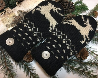 felted wool sweater mittens-recycled sweater mittens-wool mittens-fleece lined-handmade wool mittens-black and white-eco friendly