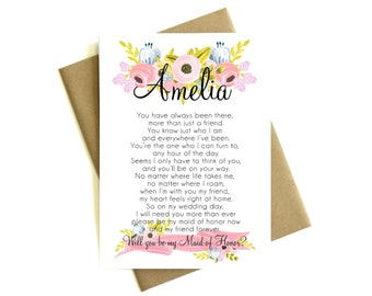 Personalized Will You Be My Maid of Honor Poem - Custom Poem, Maid of Honor Card, Maid of Honor Gift, Be My Maid of Honor Card
