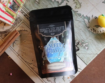 Sleep Draught, 3 cups, decaf vanilla, mint, chamomile