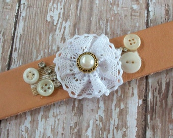 Bracelet OOAK Natural Leather Cuff with Lacy Fabric Flower and Vintage Buttons and Rhinestones