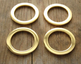 "1"" Round D Rings 24K Gold Plated Flat Circle Rings High Quality - Set of 4"