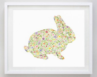 Bunny Floral Watercolor Art Print