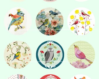 452 # birds and flowers Digital Vintage Chic 12 Images/designs for 25/20/18/16/15/14/12/10/8 mm cabochon round