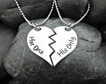 Her one his only date couples necklace stainless her one his only broken heart couples necklaces hand stamped stainless steel aloadofball