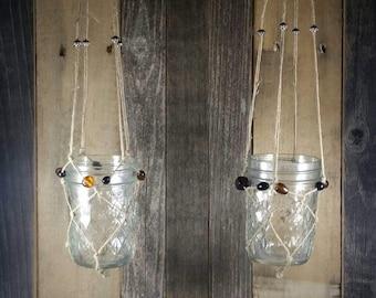 Hanging Mason Jars, Hanging Candle Holders, Macrame Mason Jars, Beaded Hanging Mason Jars, Beaded Mason Jars