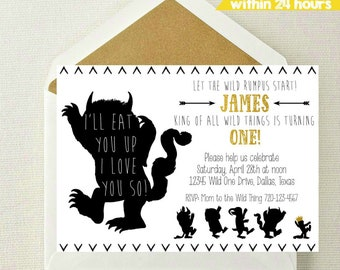Where the Wild Things Are Invitation / Wild Things Invite / Wild Rumpus Birthday / Wild Things Invitation / I'll Eat You Up I Love You So