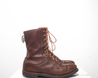 8 D   Vintage Work Boots Men's Moccasin Toe Lace Up Boots Glove Leather