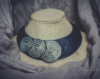 Statement necklace, Bib necklace, elegant necklace, leather imitation necklace ,blue black necklace, polymer clay necklace, patina brass