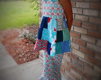 Girls Outfit Summer Knot Top and Ruffle Pants Aqua Teal Red Patchwork Dress Bojo Top Country Outfit Girls Birthday 2 3 4 5 6 7 8 10