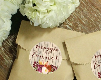 24 Paper Favor Bags - Rustic Fall Label | Wedding Favor Bags | Bridal Shower Favor Bags | Kraft Favor Bags | Baby Shower Favors | Fall Label