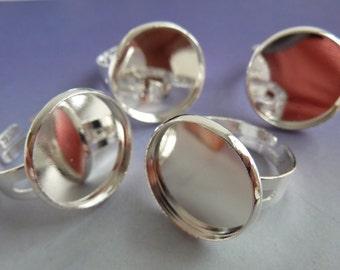 6 ring shanks, blanks, bases, settings, Ø18mm, silver