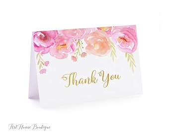 Baby Shower Thank You Card, Floral Baby Shower Folded Thanks Card, Watercolor Baby Shower Thank You Card, #BS06, Instant Download