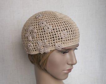 Ladie's flower hat, crochet linen beanie, lace summer hat for women or teen-girl, net-like beach cap, flax sun hat, beige crochet beanie