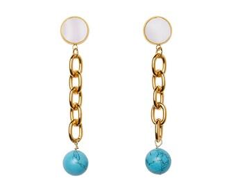 Turquoise Shoulder Duster Earrings