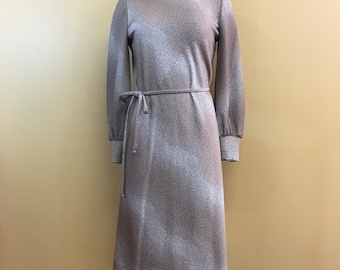 Vintage 70's Leslie Fay Knits Taupe Spotted Polka Dot Dress