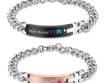 His Beauty Her Beast Stainless Steel Matching Bracelets for Couple One Pair (2pcs)