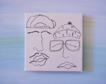 Art, Ink On Mini Canvas-  Hipsters With Moustache, Hats and Granny Glasses