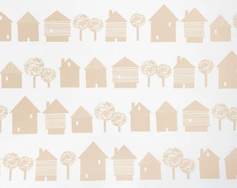 Scandinavian inspired wallpaper, blush pink houses on white, ideal for childrens room, living room, monochrome wall decor