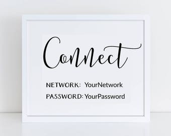 Editable Printable Internet Password Sign / Network and Wifi Password Printable / Wifi Password Wall Print / Connect Wifi Sign / Simple Wifi