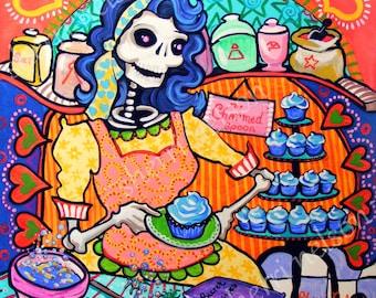 Day of the Dead Art Print Kitchen Catrina Orange Blue Dia de los Muertos Mexican Folk Art Kitchen Decor. Rockabilly Pin Up Bakery Wall Art.