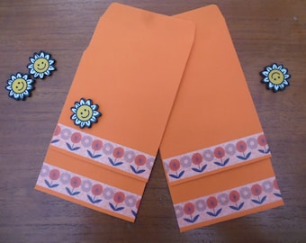 40 Orange pockets decorated with a masking tape with flowers vintage RETRO measuring 7 x 11 cm open