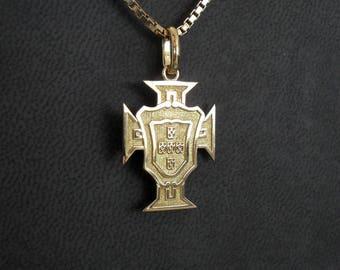 Pendentif croix du Portugal or jaune taille 3